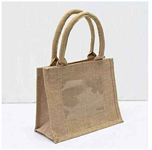 Wedding Bridal Store,(Set of 12) Perfect for Weddings,Burlap Jute Tote Bags with Front Pocket, Parties and Events, Great as a Gift Bag Size 10