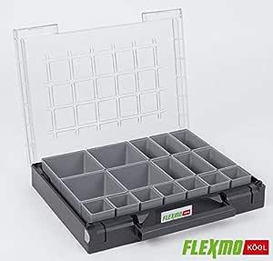 1 caja de herramientas Flexmo Auer, maletín de plástico, caja organizadora, caja para piezas pequeñas, caja para clasificar, caja para piezas pequeñas, caja surtida, maletín surtido, 40 x 30 x 7,1 cm: