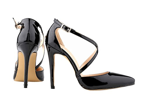 Women's Elegant Cross Strap Pointed Toe Stiletto High Heel Dress Pumps Shoes Black Patent PU