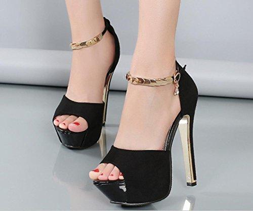 YCMDM moda femminile bocca superficiale a punta scarpe con tacchi Belle OL Word fibbia Tie Shoes , black , 39