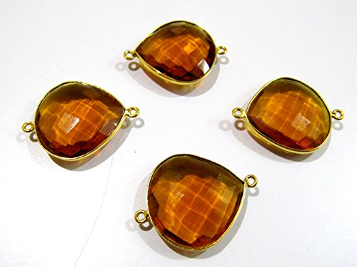 (High Finished Beautiful Citrine Heart Shape Connector / Gold Plated Hydro Quartz Briolette Double Loop Bezel / 20-21 mm Size approx. / Sold per Piece)