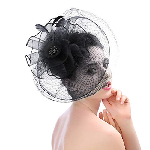 Fascinators Hats with Veil Feather for Women Tea Party Saint Patrick's Day Hats -