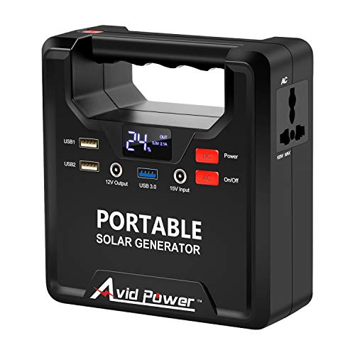 (Portable Solar Generator, 133Wh Power Station, Backup Power Supply with 110V AC Outlet, DC 12V, QC3.0 USB Ports for Camping Travel Home Emergency, Avidpower AVJS171)