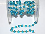50 Feet Brand New Swiss Blue Topaz Hydro Quartz Glass Rosary Bead Chain - Faceted Wire Wrapped Chain, by LadoNarayani
