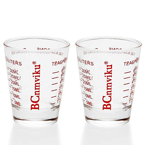 Shot Glasses Measuring Cup Espresso Measure Shot Glass 20-Incremental Measurements Multi-Purpose Liquid and Dry Measuring Shot Glass(2 Pack Red)