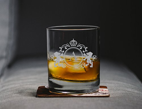 (OKSLO Monogrammed initial heavy base double rocks old fashioned whisky glassв (a))