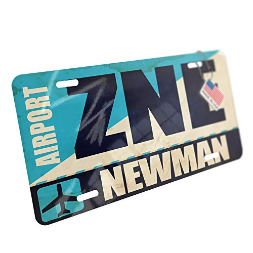 NEONBLOND Airportcode ZNE Newman Aluminum License Plate