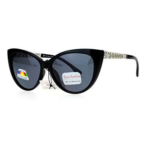 SA106 Antiglare Polarized Lens Gothic Cross Arm Cat Eye Sunglasses Black - Polarized Cat Eye Sunglasses