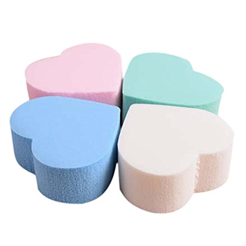 Exteren 4PC Pro Beauty Makeup Blender Foundation Puff Heart-shaped Sponge - With Heart Face Shaped Men