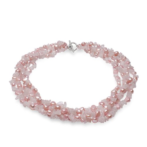 Pastel Pink Cultured Freshwater Pearls & Rose Quartz Quadruple Strand Necklace with Sterling Silver Toggle ()