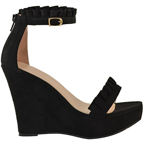 Fashion Thirsty Heelberry® Womens Ladies Wedge High Heels Frill Ankle Strap Platforms Sandals Summer Size Black Faux Suede SLwdFgaKBP