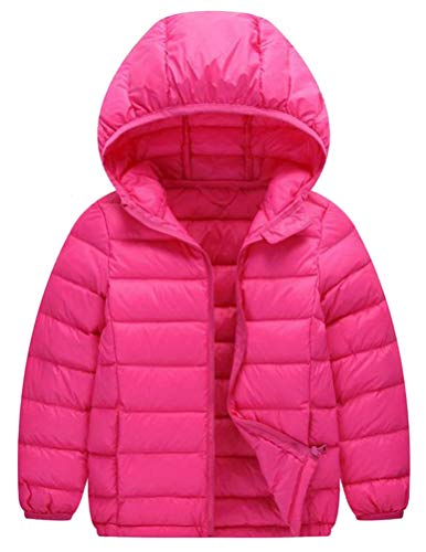 Lutratocro Boys Lightweight Portable Pocket Down Solid Hoodid Jacket Parka Coat ROSEO 11T by Lutratocro