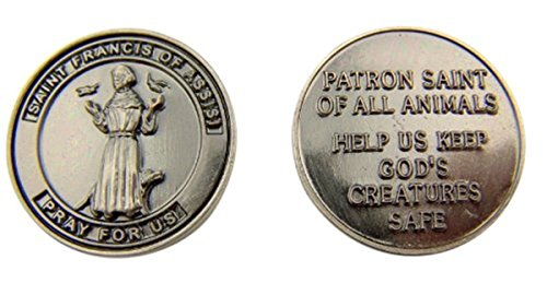 Silver Tone Faithful Protector Pocket Token with Prayer - Saint Francis of Assisi ()