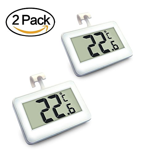 Digital Refrigerator/Freezer Thermometer, AIGUMI Waterproof Freezer Thermometer with Hook - Easy to Read LCD Display - Perfect for fridge (2 Pack of White -1)