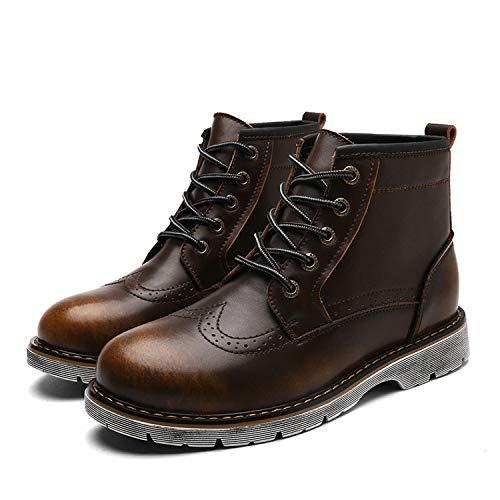Caballeros Abrasión Zapatos Top Boots A De La Oxfords Hombre Lace Resistente Yellow Para Leather Up High Classic wPnZrqpBw