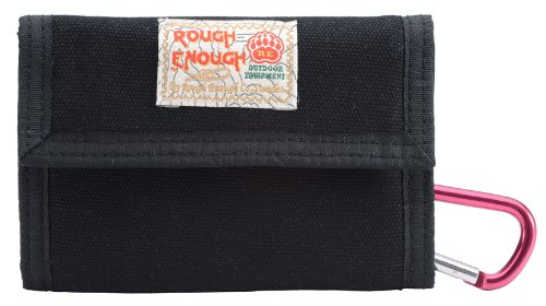 Rough Enough Portable Canvas Trifold Wallet Coin Pouch Change Purse Large Capacity Money Organizer ID Window Credit Card Holder with Zippered Pocket for Outdoor Travel Trip ()