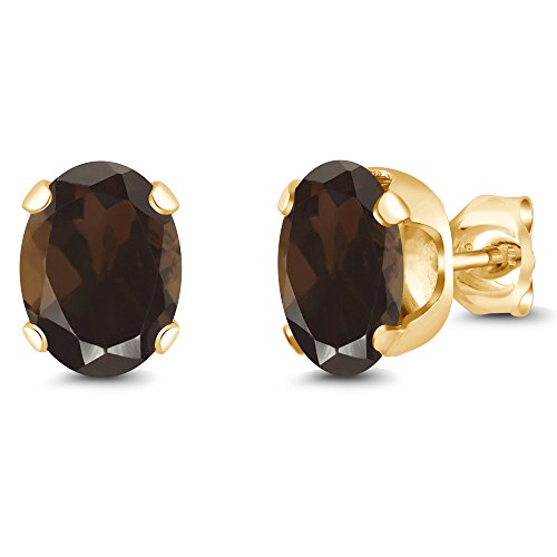 Gem Stone King 2.40 Ct 8x6mm Brown Smoky Quartz 18K Yellow Gold Plated Silver Stud Earrings