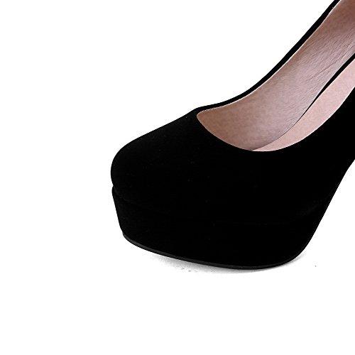 AllhqFashion Damen Nubukleder Hoher Absatz Rund Zehe Rein Ziehen auf Pumps Schuhe Schwarz