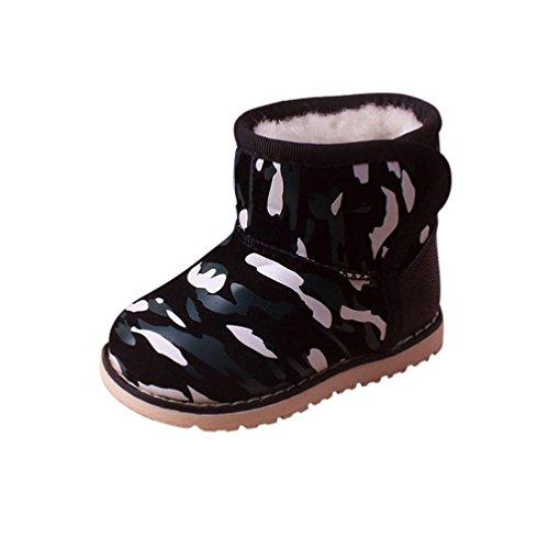 Babyschuhe Longra Winter Baby Junge Mädchen Kind Kunstleder Schneeschuhe Camouflage Stiefel Warm Boot Schneestiefel(12 Monate-6Jahre) Navy