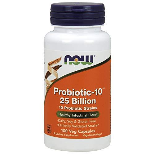 NOW Supplements, Probiotic-10™, 25 Billion, with 10 Probiotic Strains, Dairy, Soy and Gluten Free, Strain Verified, 100 Veg Capsules