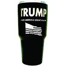 Aries Laser Designs TRUMP Engraved on Black Polar Camel 30 oz. Stainless Steel Vacuum Insulated Tumbler w/Clear Lid - BOTH SIDES Engraved