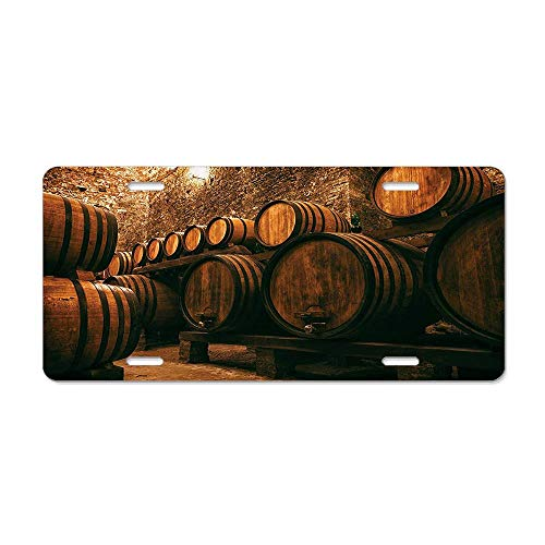 Barrels for Storage of Wine Italy Oak Container in Cold Dark Underground Cellar License Plate Cover Aluminum Car Tag Cover License Tag Holder License Plate Frame For US Vehicles Standard
