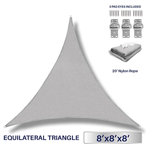 Windscreen4less 8' x 8' x 8' Triangle Sun Shade Sail - Light Grey Durable UV Shelter Canopy for Patio Outdoor Backyard with Free 3 Pad Eyes - Custom by Windscreen4less