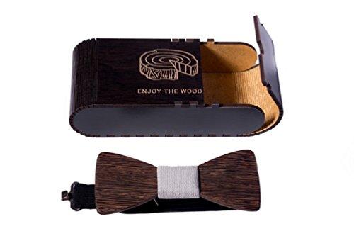 Bow tie wood with grey strap with wood gift box Rustic Wedding Bow Tie for Groomsmen 4.3×2 by Enjoy The Wood – handmade from natural wenge wood dark…