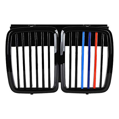 Astra Depot Compatible with 1982-1994 BMW E30 Front Upper Bumper Grille 318i 318is 325i 325is 325iX 325 325e 325es M3 (Glossy Black M-Color)