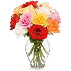 Benchmark Bouquets Dozen Rainbow Roses, for Valentine's Day With Vase