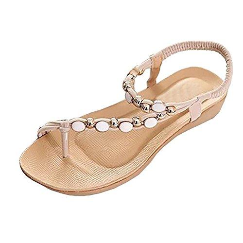 Sandals Amazing Women Summer Bohemia Sweet Flower Beads Shoes Flat Beach Shoes (Color : Red, Size : EU37/UK4.5-5/CN37) Beige
