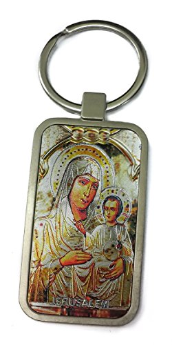 Virgin Mary Of Jerusalem and Baby Jesus Keychain Christian Holder Ring Holy Land