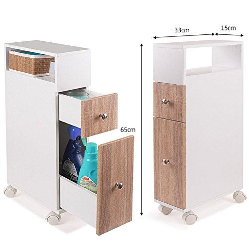 Meuble rangement WC sur roulettes 2 tiroirs h/être IDMarket