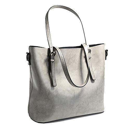 Flymd Vintage Viaje Lady Mano Handbag Bolso couleur Sac À Bandoulière Commuter Mujer Simple Gris Noir De PrqwPR