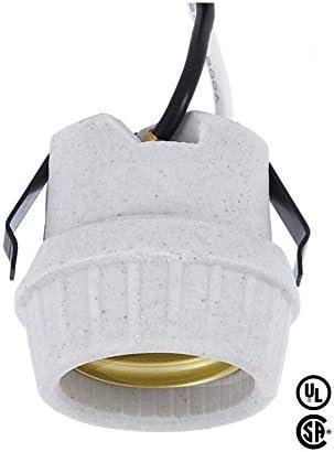 SNAP-IN Medium Base Porcelain Incandescent Lamp Holder Light Socket w// LEADS