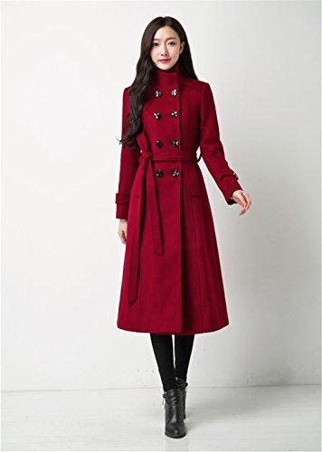 Blansdi Damen Mädchen Frauen Herbst Beiläufig Elegant Zweireihig Belted  Lange Wollen Trenchcoat Frühling Windjacke Steppmantel Stil ...