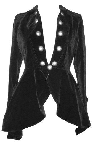 Elegante terciopelo gótico o Victoriano Retro Regency Flounce Chaqueta de estilo en tamaños 6–�?8 negro