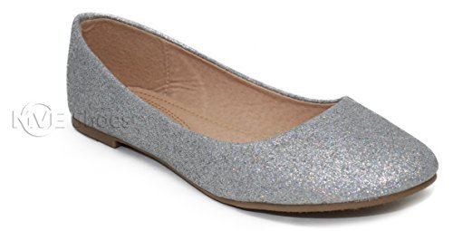 MVE Shoes Women's Glittery Ballet Flats - Slip On Dress Wedding Shoes - Round Toe Comfort Soft Classic Shoes, Silver Size 7.5