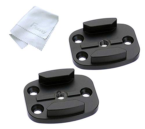 (2 Packs) Fotasy Black Aluminum Tripod Buckle Mount Adapter with 1/4