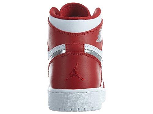 Nike Air jordan 1 retro high bg - Chaussures de basket-ball, Homme, Couleur Rouge (gym red/metallic silver-white), taille 39