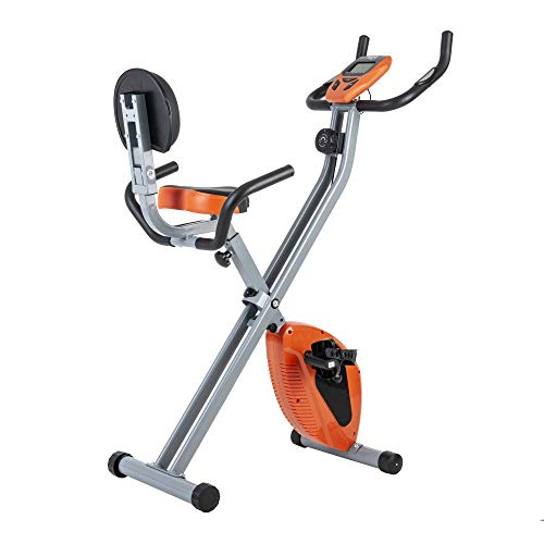 GOJOOASIS Folding Magnetic Exercise Bike Upright X Bike with 8-Level Adjustable Magnetic Resistance and Pulse Rate Sensors