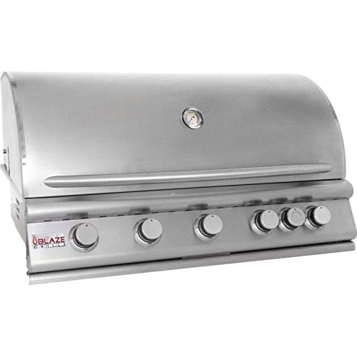 "Blaze BLZ-5LP 40"" Liquid Propane Grill with 5 Commercial Quality 304 Cast Stainless Steel Burners Infrared Rear Rotisserie Burner 80 000 Total BTUs and Removable Warming Rack in Stainless Blaze"