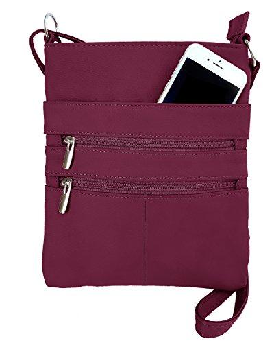 - Roma Leathers Mini Body Purse - Five Compartments, Adjustable Strap - Wine (RM011-WIN)