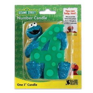 1 X 4th Birthday Sesame Street Cookie Monster Cake Candle (Sesame Street Candles)