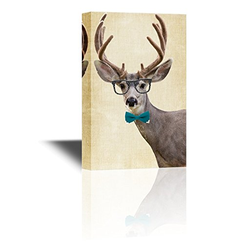 wall26 Canvas Wall Art - Mr Deer Wearing Glasses and a Tie - Gallery Wrap Modern Home Decor | Ready to Hang - 12x18 inches (Man Wearing Glasses)