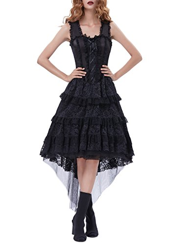 Belle Poque Floral Lace Steampunk High-Low Dresses For Women Victorian Dress BP353-1 L Black (Cross Bodice Criss Sweetheart)