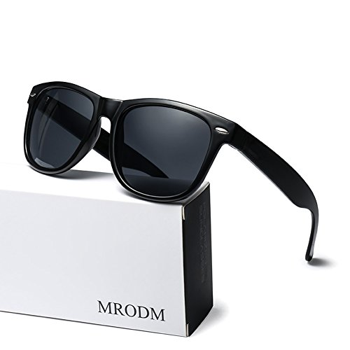 MRODM Wayfarer Sunglasses Unisex Polarized UV400 UV Protection Black Large 55mm-Black - Extra Sunglasses Wayfarer Large