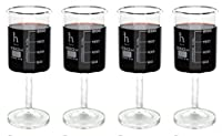 Handmade Beaker Wine Glass, Made of Lab Grade Borosilicate 3.3 Glass - 250mL Capacity, Dishwasher Safe - Pack of 4