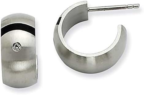 Chisel Stainless Steel Brushed Black Rubber w/ CZ Post Hoop Earrings 12mm