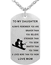 TTVOVO Inspirational Dog Tag Pendant Necklace My Son Daughter from Dad Mom Engraved Stainless Steel Always Remember You are Braver Dogtags Military Jewelry Birthday Gift